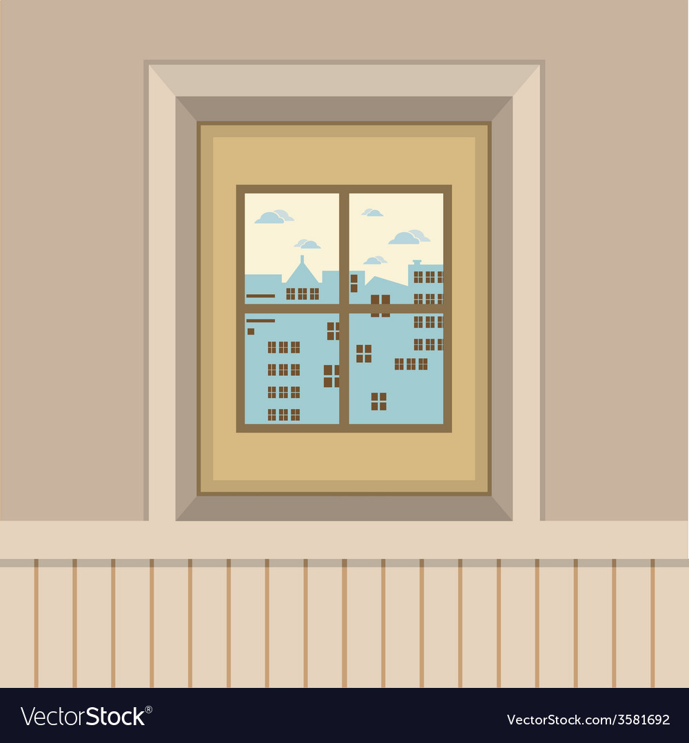 Buildings view through the window vector | Price: 1 Credit (USD $1)