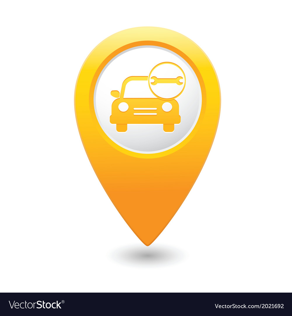 Car with wrench icon map pointer yellow vector | Price: 1 Credit (USD $1)