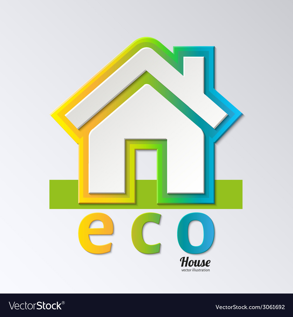 Eco house in rainbow color  eps 10 vector | Price: 1 Credit (USD $1)