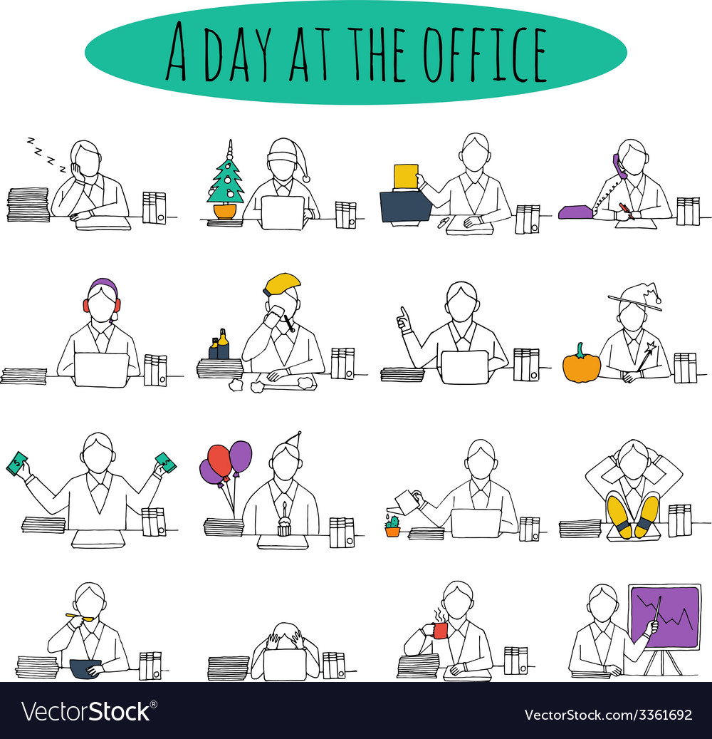 People at office desk vector | Price: 1 Credit (USD $1)