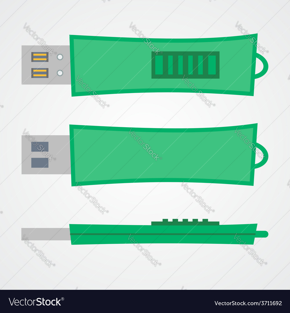 Top view of portable flash gadget in green design vector | Price: 1 Credit (USD $1)