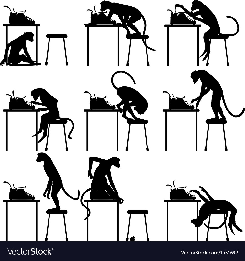 Typing monkeys vector | Price: 1 Credit (USD $1)