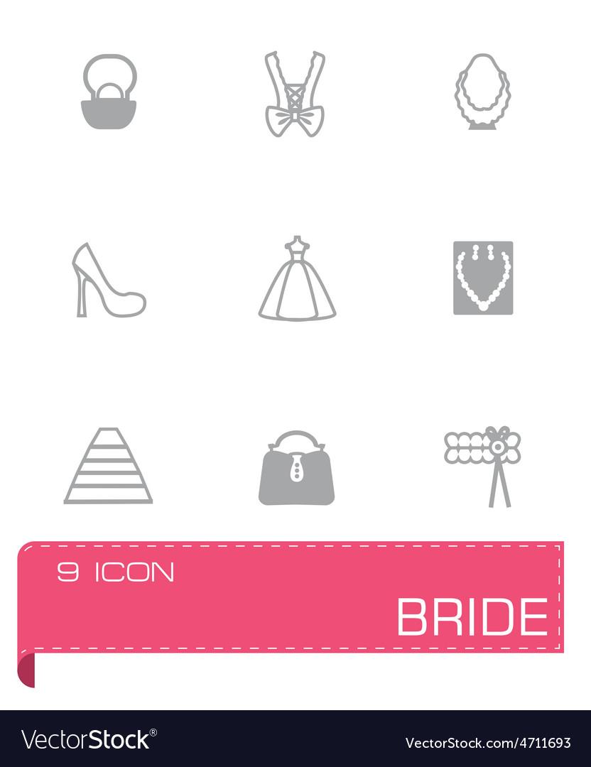 Bride icon set vector | Price: 1 Credit (USD $1)