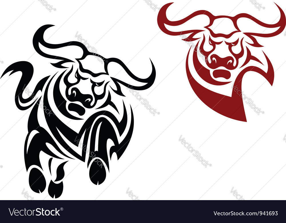 Bull and buffalo mascots vector | Price: 1 Credit (USD $1)