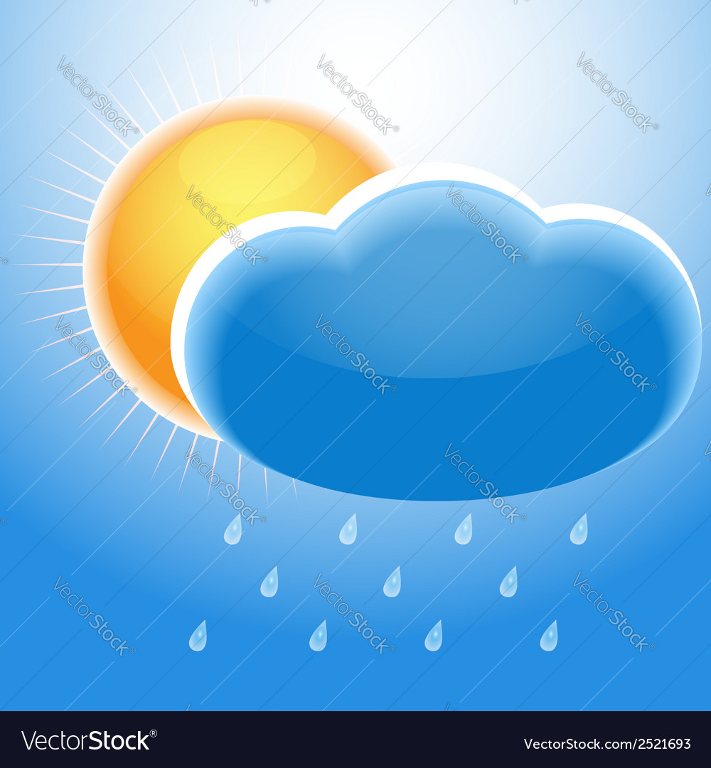 Cloud sun and rain vector | Price: 1 Credit (USD $1)