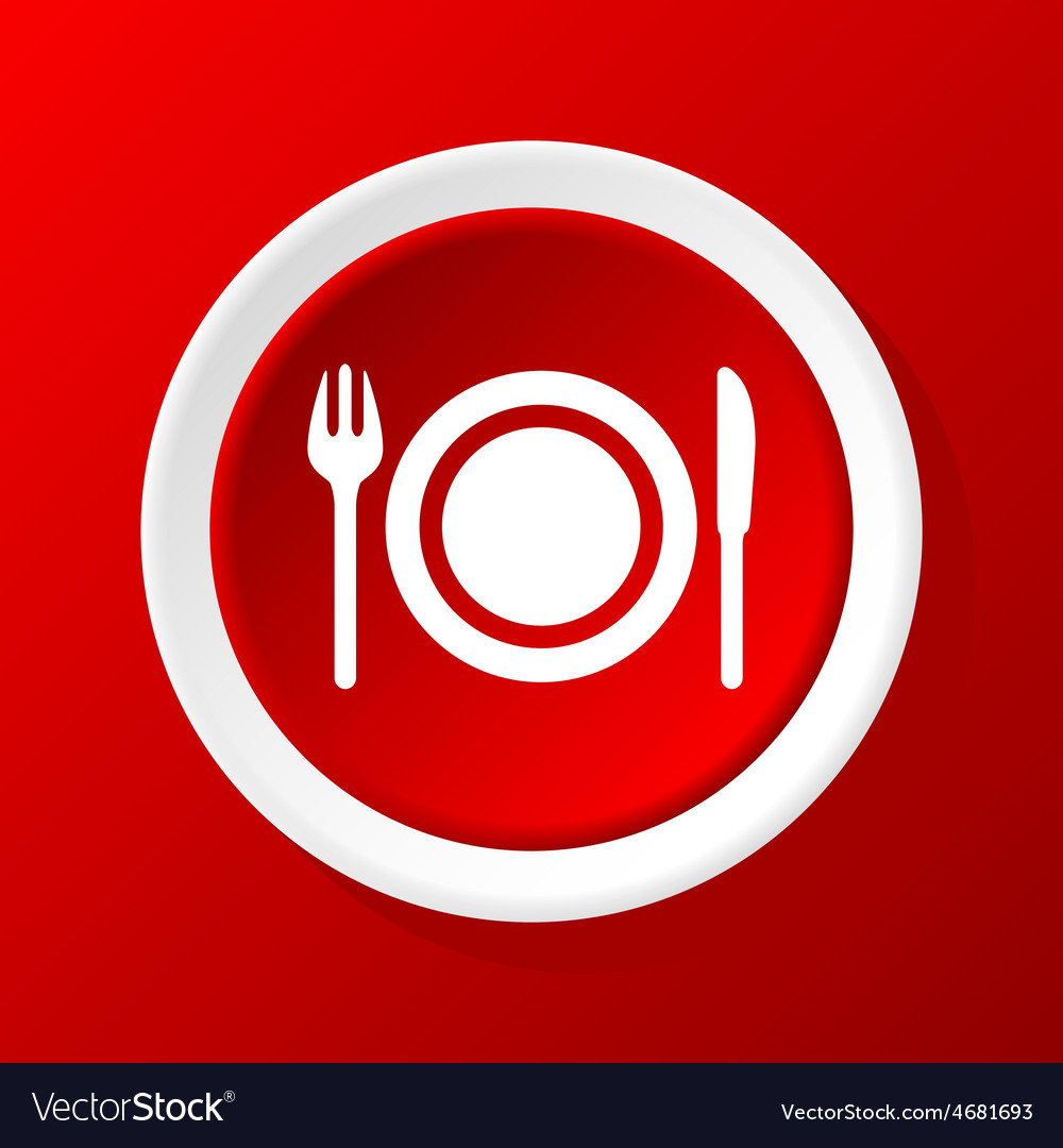 Dishware icon on red vector | Price: 1 Credit (USD $1)