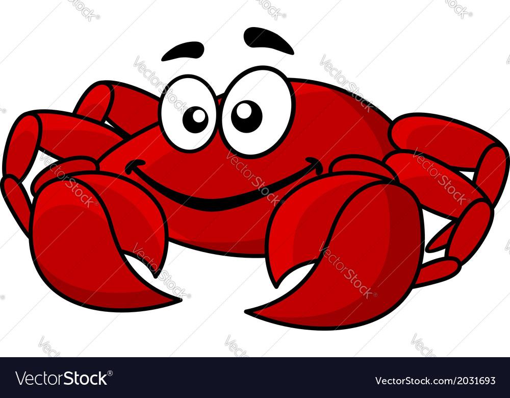 Fun smiling red cartoon crab vector | Price: 1 Credit (USD $1)
