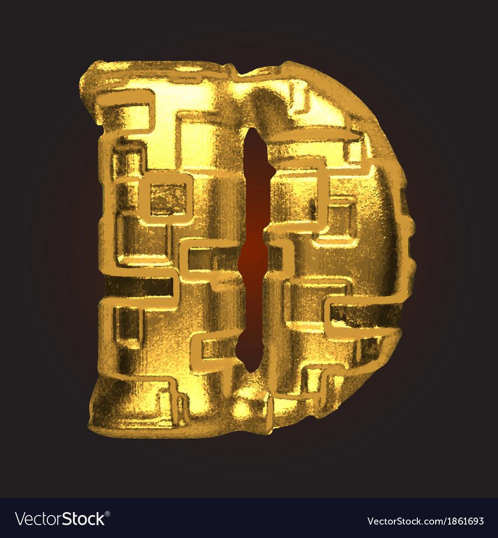 Golden letter d vector | Price: 1 Credit (USD $1)