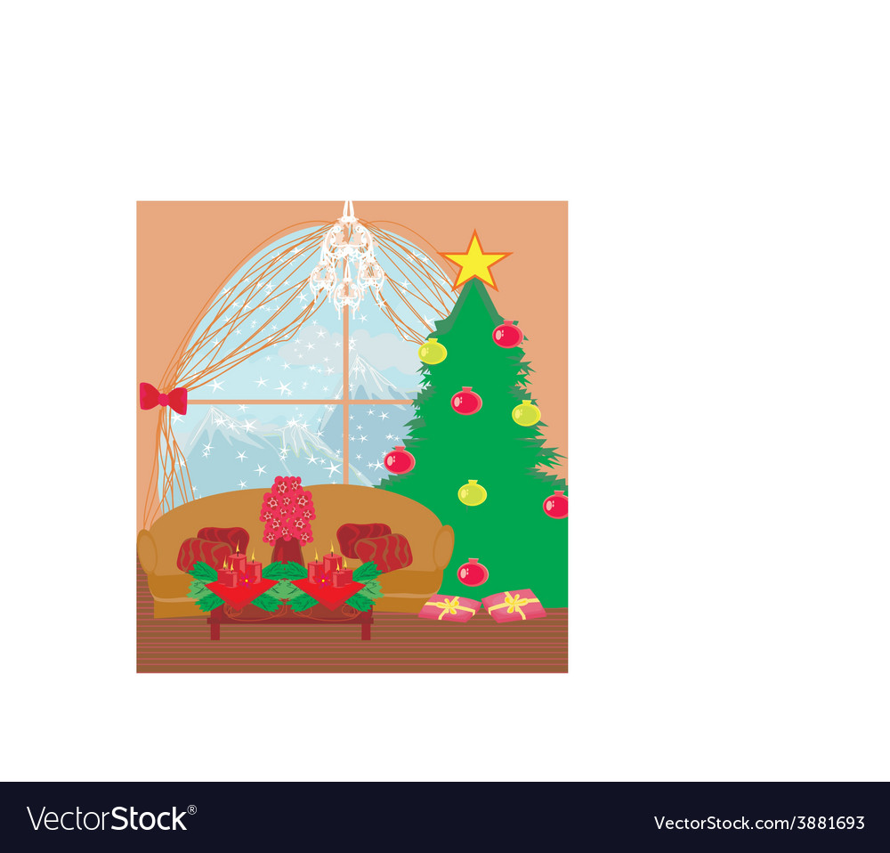 Living room at christmas time vector | Price: 1 Credit (USD $1)