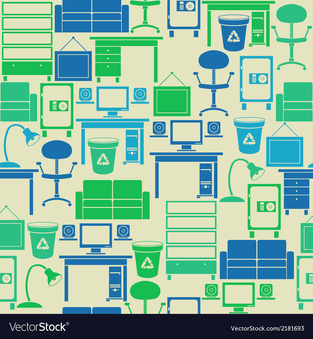 Seamless pattern with office furniture vector | Price: 1 Credit (USD $1)
