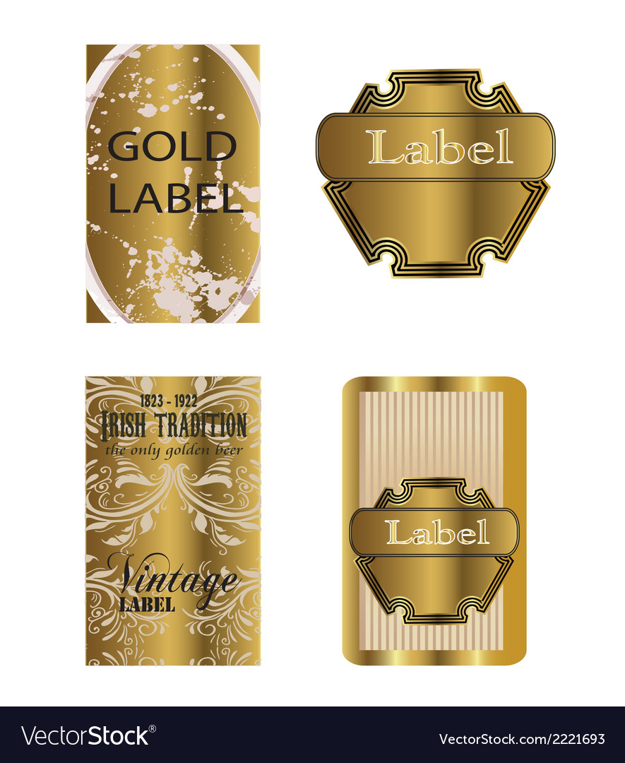Set of 2 gold framed labels vector | Price: 1 Credit (USD $1)