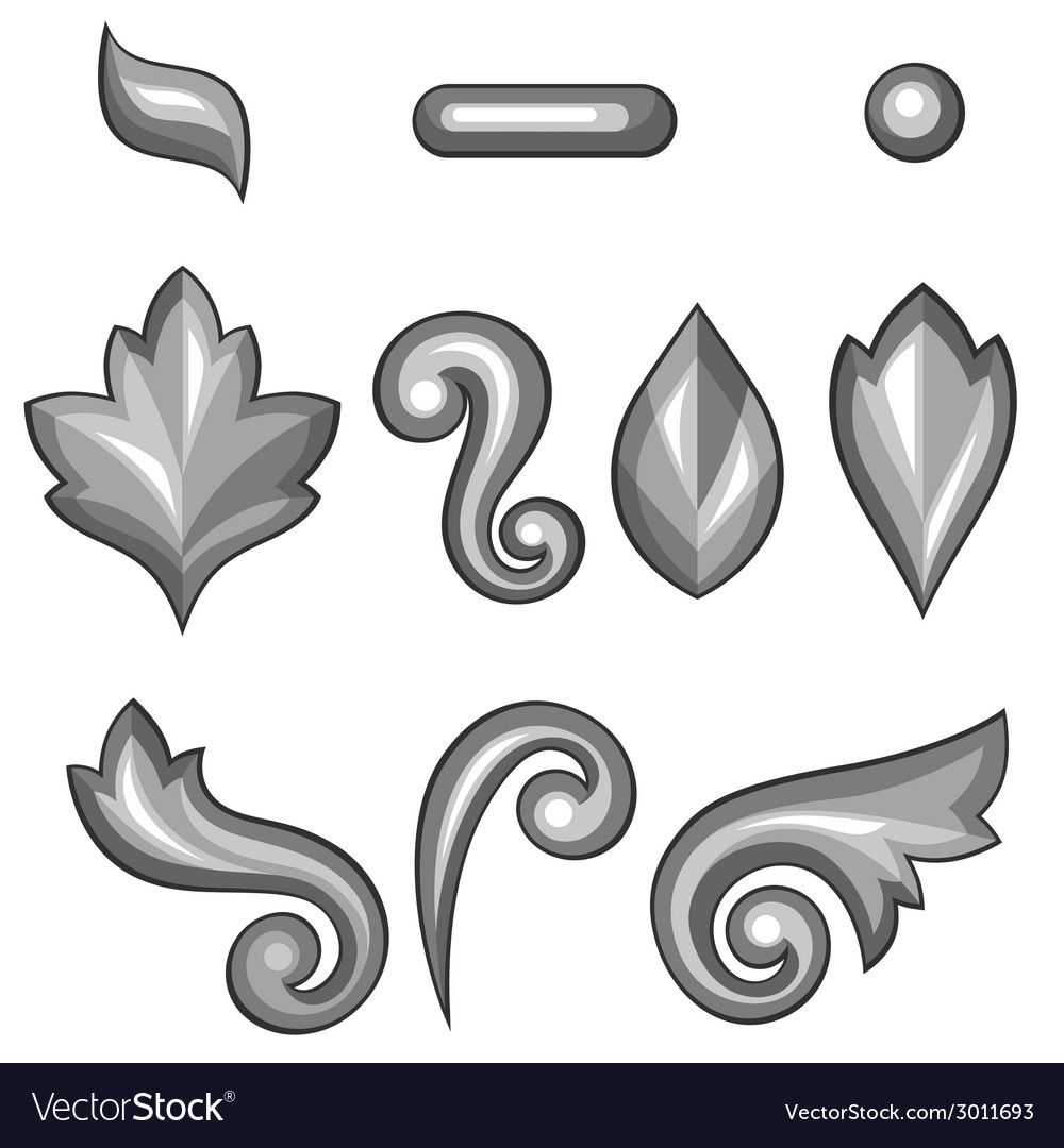 Set of baroque ornamental floral silver elements vector | Price: 1 Credit (USD $1)