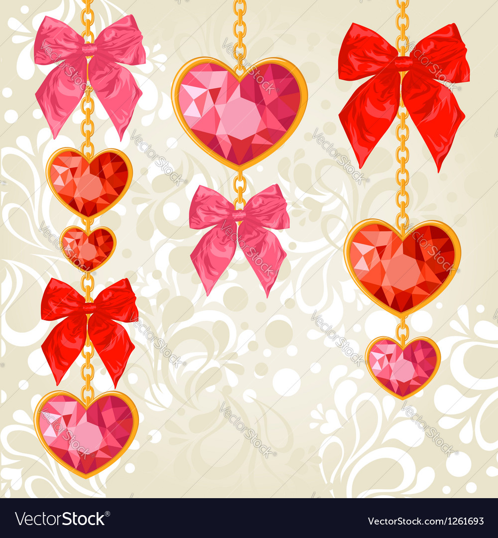 Shiny ruby heart pendants hanging on golden chains vector | Price: 1 Credit (USD $1)