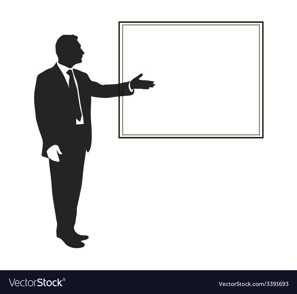 Silhouette of a man pointing gesture vector | Price: 1 Credit (USD $1)