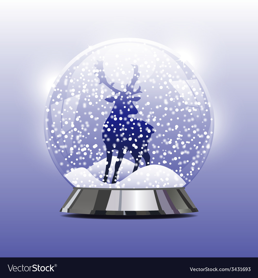 Snow globe with a christmas deer vector | Price: 1 Credit (USD $1)