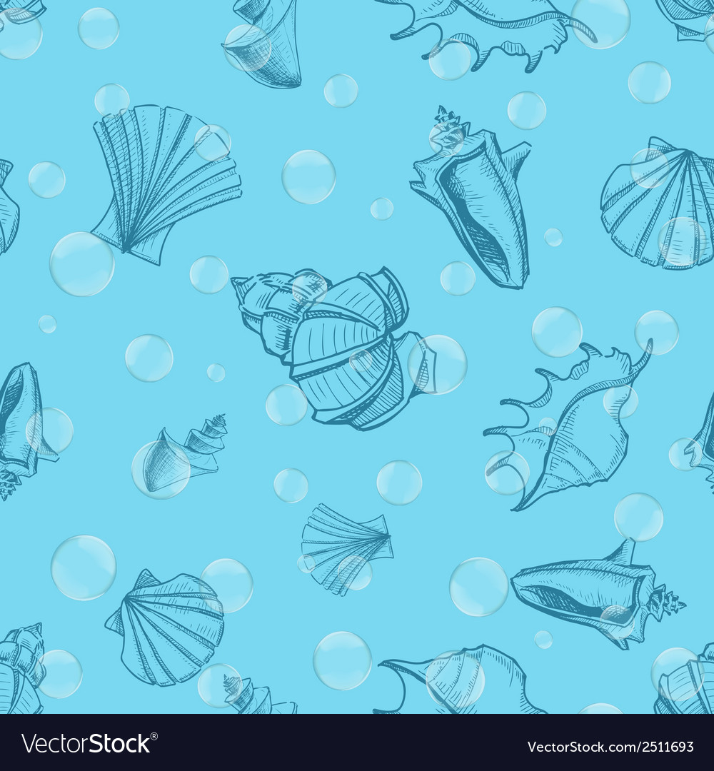 Underwater seamless pattern with shells and vector | Price: 1 Credit (USD $1)