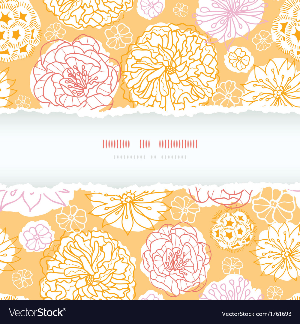 Warm day flowers frame decor torn seamless pattern vector | Price: 1 Credit (USD $1)