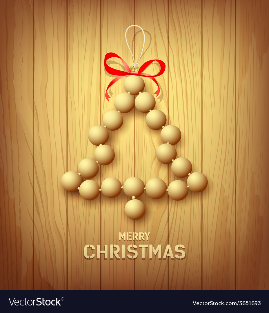 Wood merry christmas tree red ribbons design vector   Price: 1 Credit (USD $1)