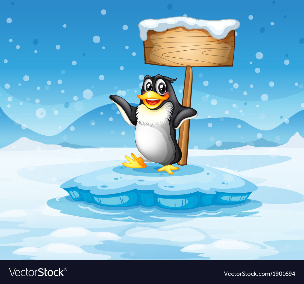 An iceberg with a penguin and an empty wooden vector | Price: 3 Credit (USD $3)