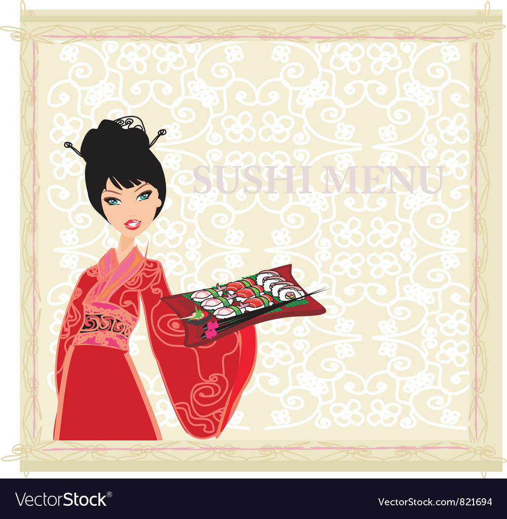 Asian girl enjoy traditional japanese food vector | Price: 3 Credit (USD $3)