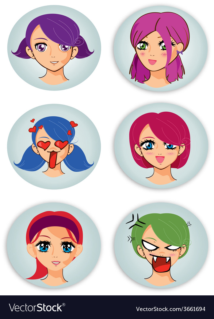 Badges with manga girl faces vector | Price: 1 Credit (USD $1)