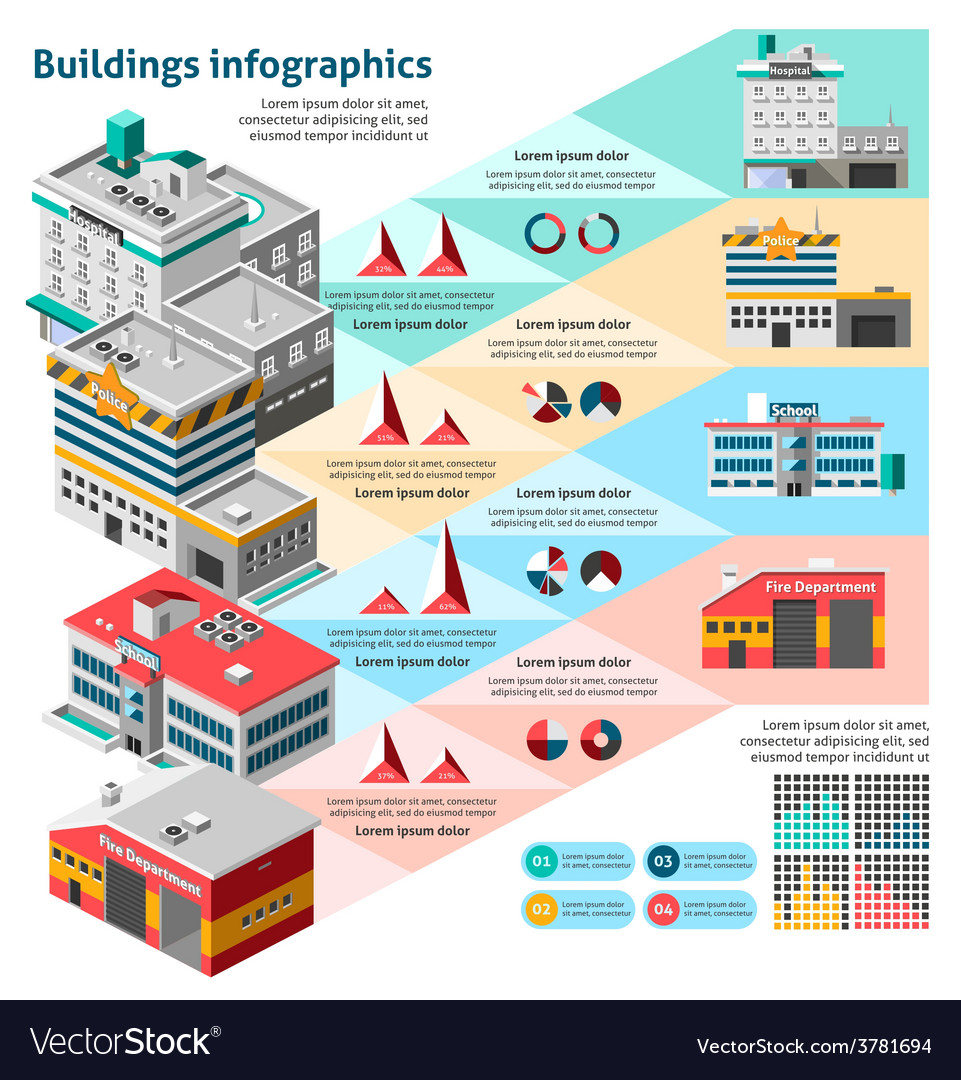 Buildings infographics set vector | Price: 3 Credit (USD $3)