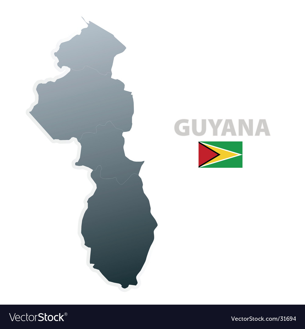 Guyana map with official flag vector | Price: 1 Credit (USD $1)