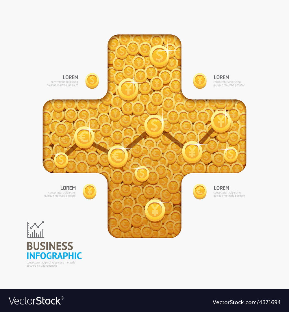 Infographic business currency money coins plus sha vector | Price: 3 Credit (USD $3)