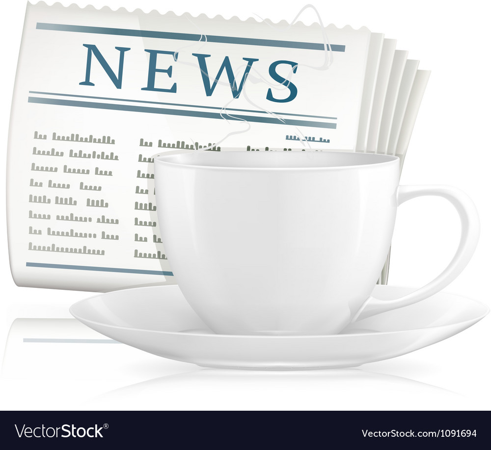 Newspaper and cup of coffee vector | Price: 1 Credit (USD $1)