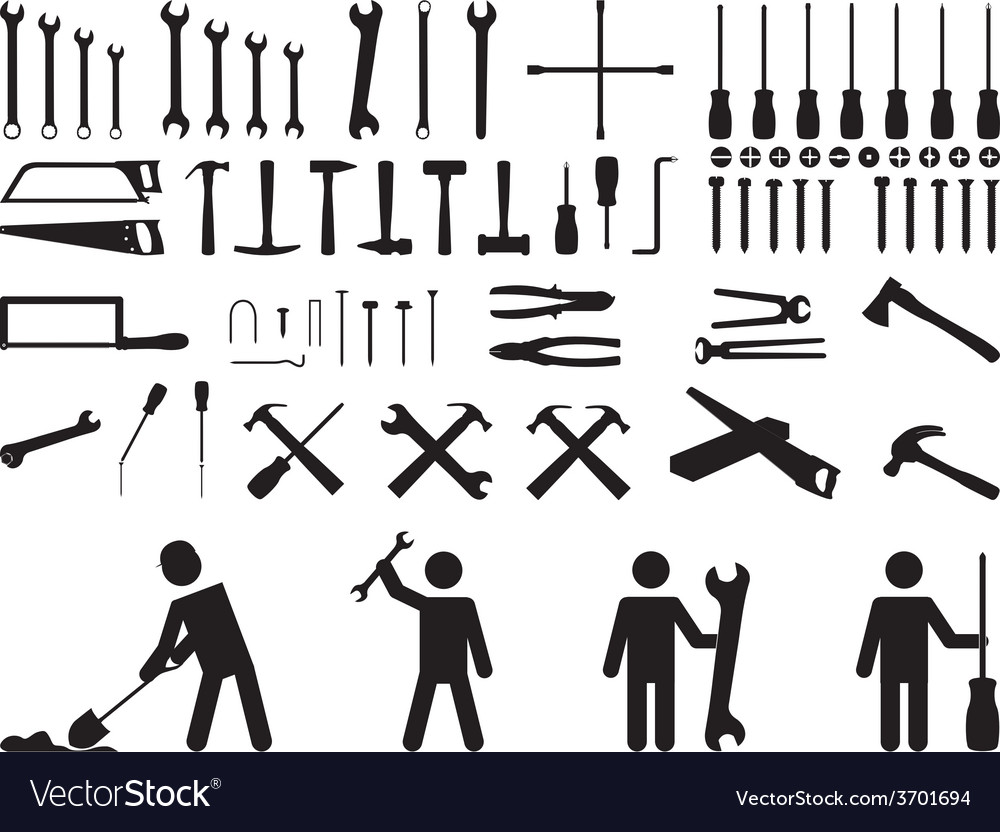 Pictogram people with tools vector | Price: 1 Credit (USD $1)
