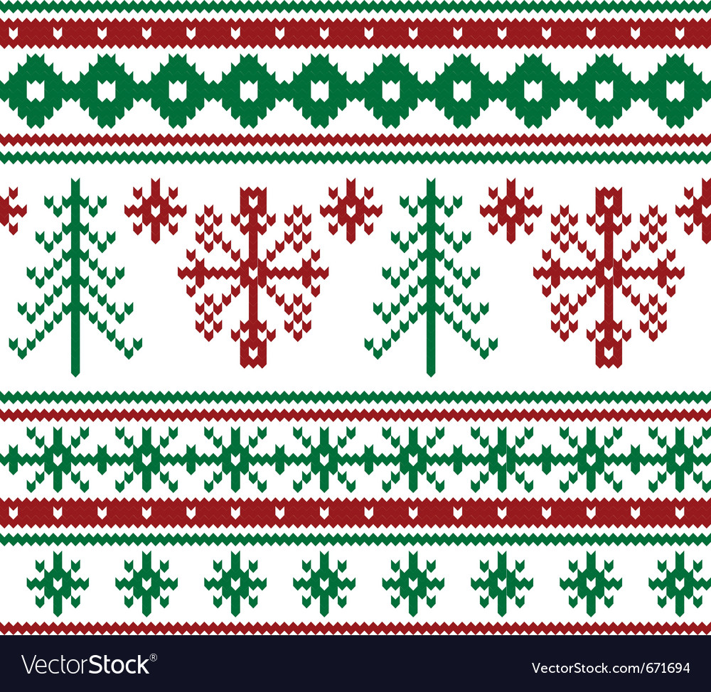 Seamless knitted christmas pattern vector | Price: 1 Credit (USD $1)