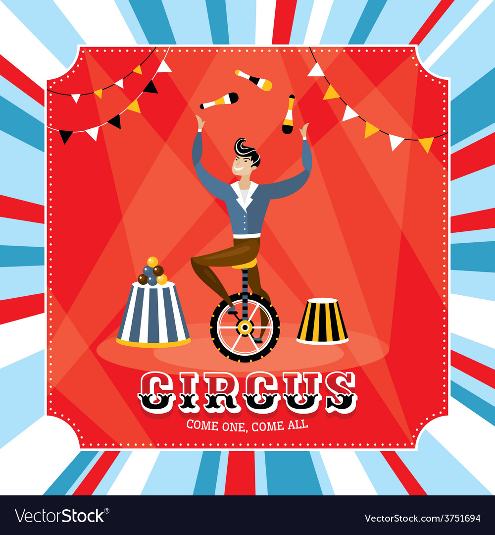 Vintage card with juggler vector | Price: 1 Credit (USD $1)