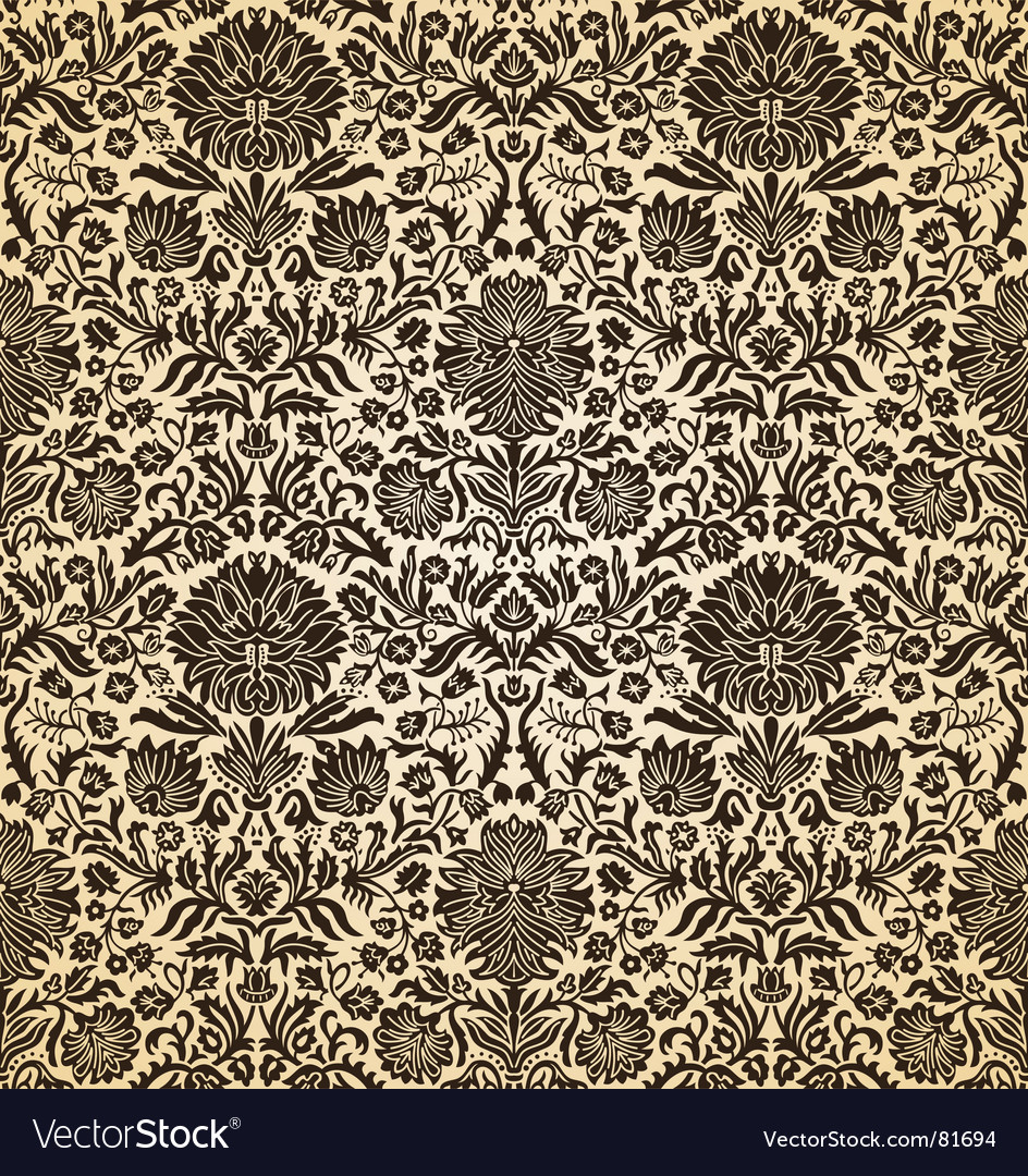 Vintage seamless wallpaper vector | Price: 1 Credit (USD $1)