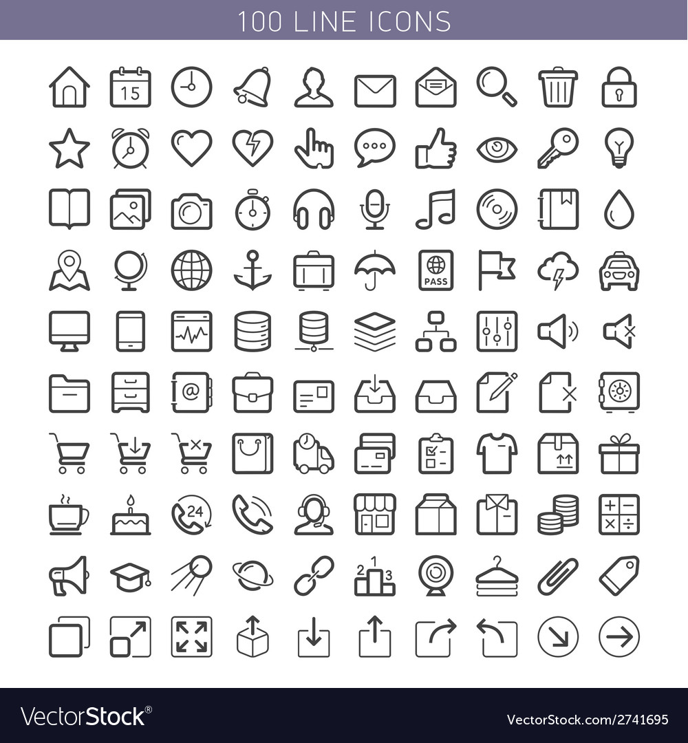 100 line icons vector | Price: 1 Credit (USD $1)