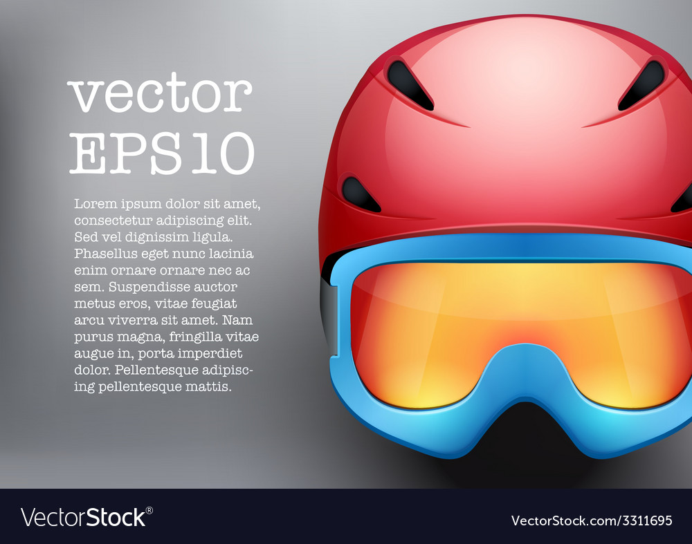Background of classic ski helmet and snowboard vector | Price: 1 Credit (USD $1)