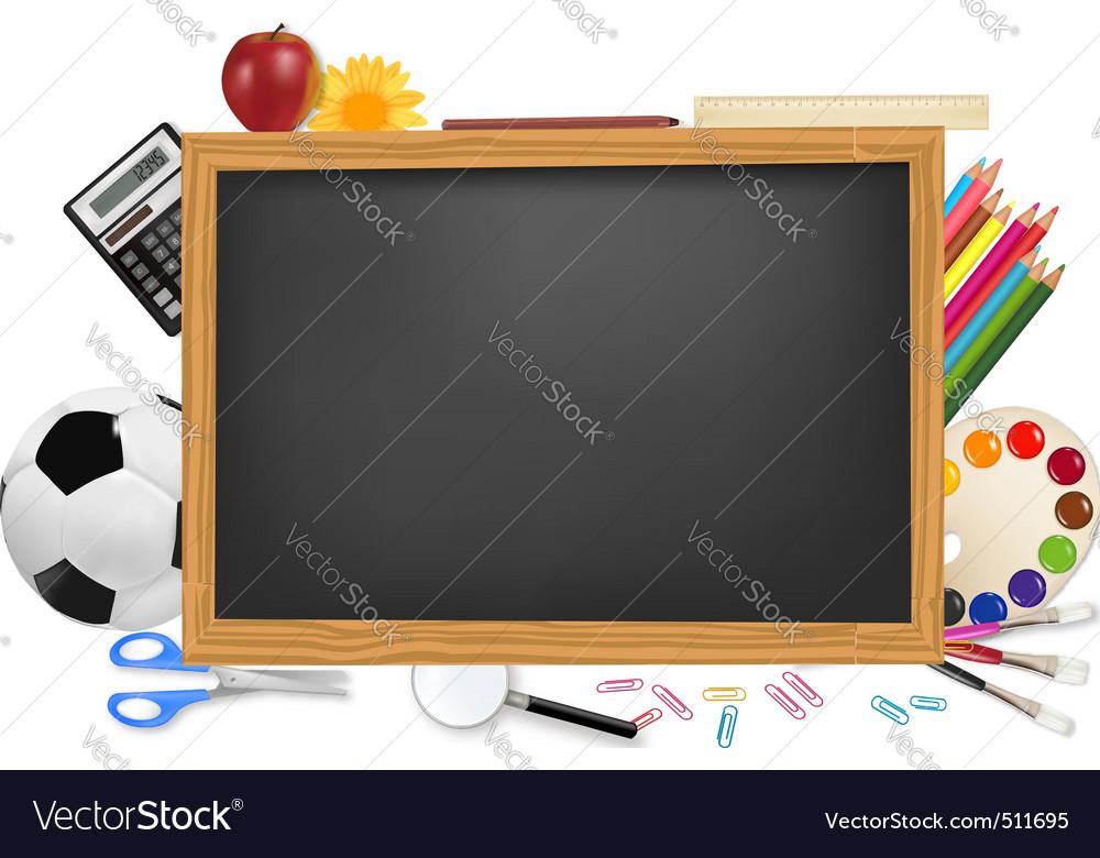 Black desk with school supplie vector | Price: 3 Credit (USD $3)