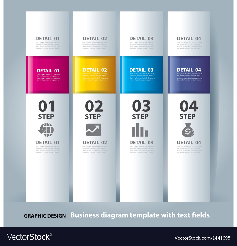 Business step paper chart and numbers banner vector | Price: 1 Credit (USD $1)