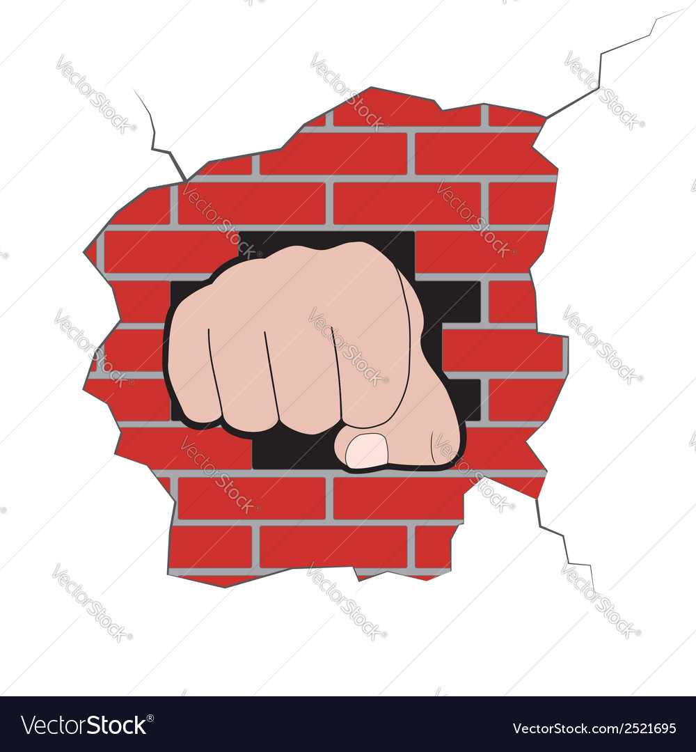 Fist burst through brick wall vector | Price: 1 Credit (USD $1)