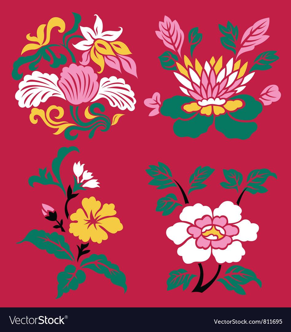 Floral emblem set vector | Price: 1 Credit (USD $1)
