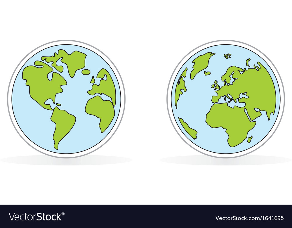 Hand drawn planet earth with both globes vector | Price: 1 Credit (USD $1)