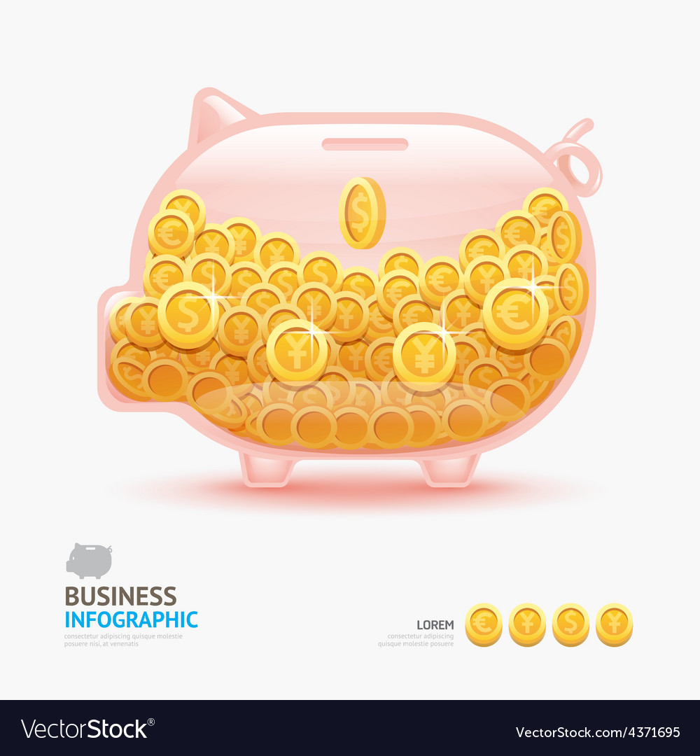 Infographic business currency money coins piggy ba vector | Price: 3 Credit (USD $3)