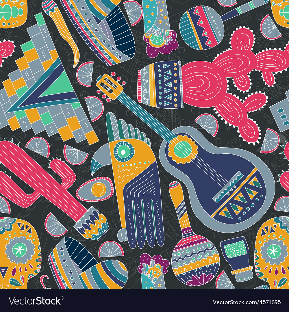 Mexico seamless pattern vector | Price: 1 Credit (USD $1)
