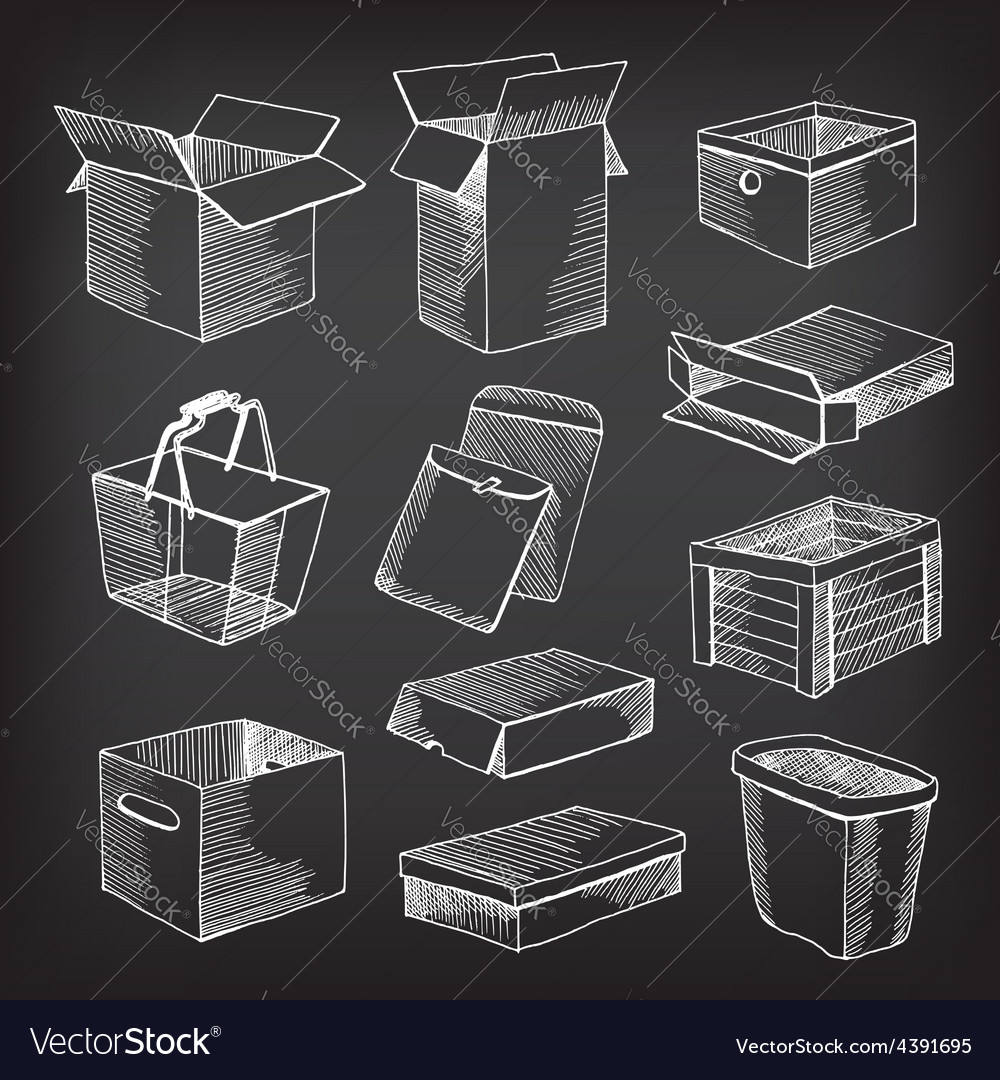 Package and boxes sketch design vector | Price: 1 Credit (USD $1)