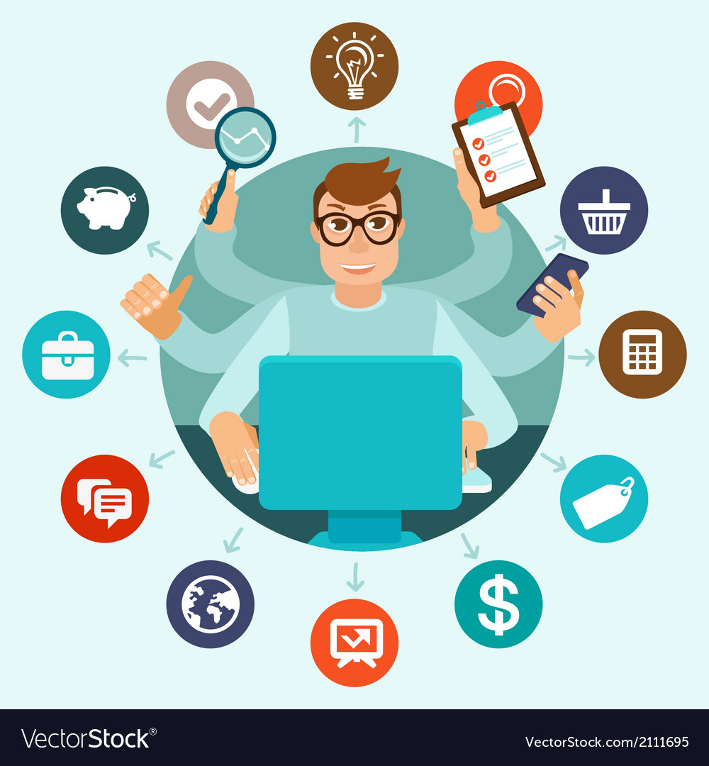 Self employment concept in flat style vector | Price: 1 Credit (USD $1)