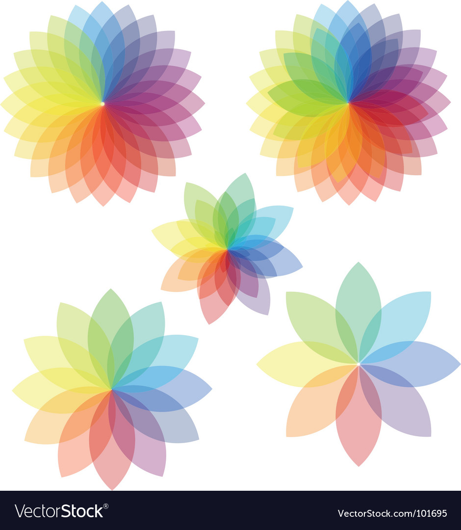 Spectrum abstract colored flowers vector | Price: 1 Credit (USD $1)
