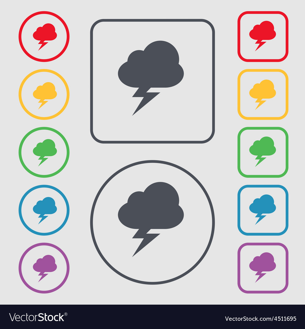 Storm icon sign symbol on the round and square vector | Price: 1 Credit (USD $1)