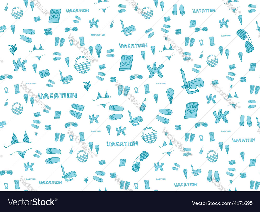 Summer vacation holiday icons seamless background vector | Price: 1 Credit (USD $1)
