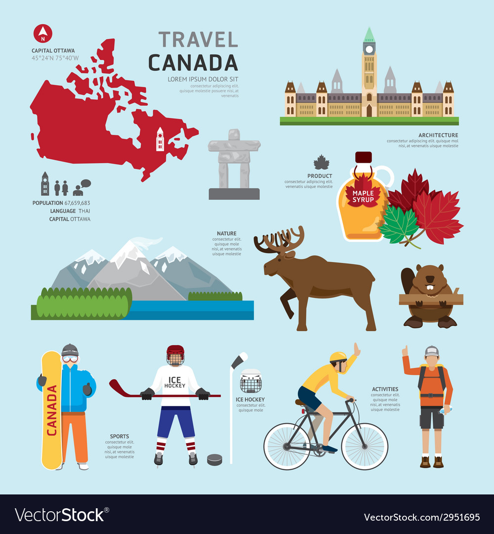 Travel concept canada landmark flat icons design vector | Price: 1 Credit (USD $1)