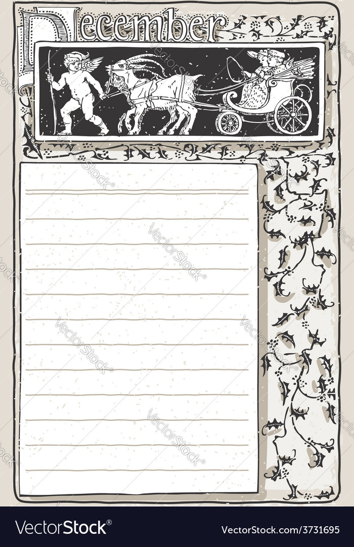 Vintage december page with carriage cupid vector | Price: 3 Credit (USD $3)