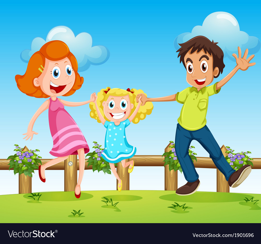 A happy family above the hills with a fence vector | Price: 3 Credit (USD $3)